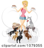 Clipart Dog Lady Surrounded By Her Pets At Feeding Time Royalty Free Vector Illustration