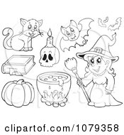 Clipart Outlined Witch And Halloween Items Royalty Free Vector Illustration by visekart