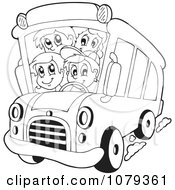 Clipart Outlined School Kids On A Bus Royalty Free Vector Illustration