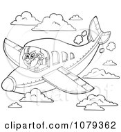 Clipart Outlined Pilot In Flight Royalty Free Vector Illustration by visekart