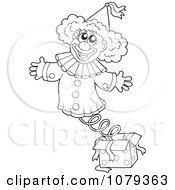 Clipart Outlined Jack In The Box Clown Royalty Free Vector Illustration by visekart