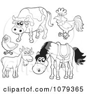 Clipart Outlined Farm Animals Royalty Free Vector Illustration