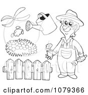Clipart Outlined Gardener With Landscaping Tools Royalty Free Vector Illustration