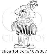 Clipart Outlined Clown Playing An Accordian Royalty Free Vector Illustration