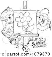 Clipart Outlined Art Class Kids Presenting A Painting Royalty Free Vector Illustration