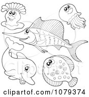Clipart Outlined Sea Life 2 Royalty Free Vector Illustration