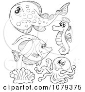 Clipart Outlined Sea Life 3 Royalty Free Vector Illustration by visekart