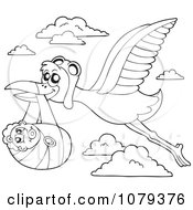 Clipart Outlined Flying Stork With A Baby Royalty Free Vector Illustration