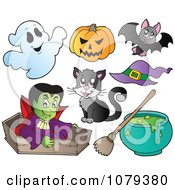 Clipart Vampire With Halloween Items Royalty Free Vector Illustration