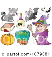 Clipart Witch With Halloween Items Royalty Free Vector Illustration by visekart
