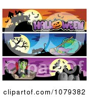 Clipart Halloween Haunted House Witch And Vampire Website Banners Royalty Free Vector Illustration