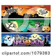 Clipart Haunted House Witch Cat And Ghost Halloween Website Banners Royalty Free Vector Illustration