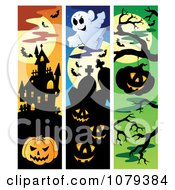 Clipart Jackolantern Haunted House Haunted Cemetery Halloween Website Banners Royalty Free Vector Illustration by visekart