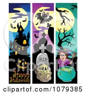 Clipart Haunted House Graveyard And Witch Vertical Halloween Website Banners Royalty Free Vector Illustration