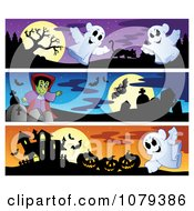 Clipart Ghost Vampire And Haunted House Halloween Website Banners Royalty Free Vector Illustration