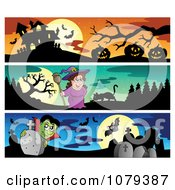 Clipart Haunted House Witch And Vampire Halloween Website Banners Royalty Free Vector Illustration