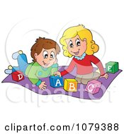 Clipart Boy And Girl Playing With Alphabet Blocks Royalty Free Vector Illustration