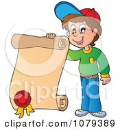 Clipart School Boy Holding A Certificate Royalty Free Vector Illustration by visekart