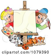 Clipart Art Class School Kids With A Blank Canvas Royalty Free Vector Illustration by visekart