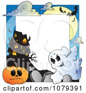 Clipart Ghost Cemetery Jackolantern And Haunted House Halloween Border Royalty Free Vector Illustration