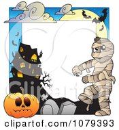 Clipart Mummy Cemetery Jackolantern And Haunted House Halloween Border Royalty Free Vector Illustration