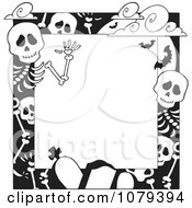 Clipart Black And White Cemetery And Skeleton Halloween Border Royalty Free Vector Illustration