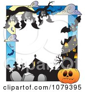 Clipart Vampire Bats Cemetery Jackolantern And Haunted House Halloween Border Royalty Free Vector Illustration
