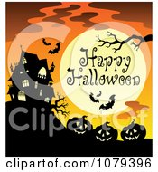 Clipart Haunted House And Jackolantern Happy Halloween Greeting Royalty Free Vector Illustration