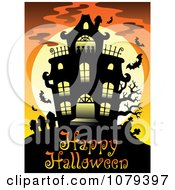 Clipart Haunted House Happy Halloween Greeting Royalty Free Vector Illustration
