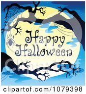 Clipart Spider And Bare Tree Happy Halloween Greeting Royalty Free Vector Illustration by visekart