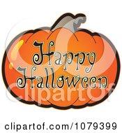 Clipart Pumpkin Happy Halloween Greeting Royalty Free Vector Illustration