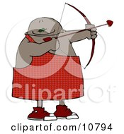 Black Cupid Aiming A Bow And Arrow On Valentines Day Clipart Illustration by djart