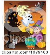 Clipart Halloween Witch Cauldron Ghost Cat And Vampire Near A Haunted House Royalty Free Vector Illustration