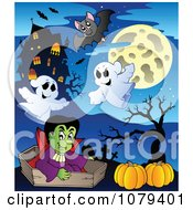 Clipart Halloween Vampire With Pumpkins Ghosts And Bats By A Haunted House Royalty Free Vector Illustration