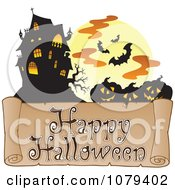 Clipart Jackolantern Bat And Haunted House Happy Halloween Greeting Royalty Free Vector Illustration