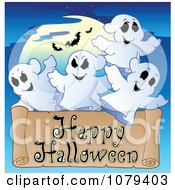 Clipart Ghost Happy Halloween Greeting Royalty Free Vector Illustration