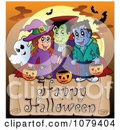 Clipart Trick Or Treater Happy Halloween Greeting Royalty Free Vector Illustration