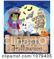 Clipart Happy Halloween Greeting Royalty Free Vector Illustration by visekart