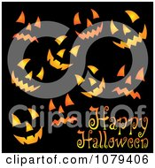 Clipart Happy Halloween Greeting With Jackolantern Faces On Black Royalty Free Vector Illustration