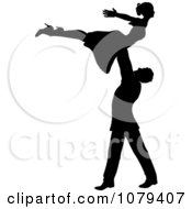Clipart Silhouetted Male Dancer Lifting Up His Partner Royalty Free Vector Illustration