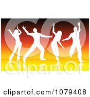 Clipart Silhouetted Dancers Over Orange Lines Royalty Free Vector Illustration