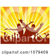 Clipart Silhouetted Dancers Against Rays Royalty Free Vector Illustration