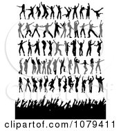 Clipart Silhouetted Dancers And Concert Fans Royalty Free Vector Illustration