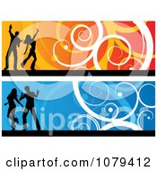 Clipart Orange And Blue Silhouetted Dancer Website Banners Royalty Free Vector Illustration