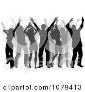 Clipart Gray And Black Silhouetted Dancers Royalty Free Vector Illustration
