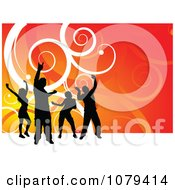 Clipart Silhouetted Dancers Over Orange With White Swirls Royalty Free Vector Illustration