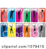 Clipart Silhouetted Dancers On Colorful Rectangles Royalty Free Vector Illustration