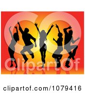Clipart Silhouetted Dancers Over An Orange Burst Royalty Free Vector Illustration