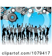 Clipart Silhouetted Dancers Over Blue With Grungy Circles Royalty Free Vector Illustration