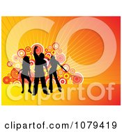 Clipart Silhouetted Dancers Over Orange Rays And Circles Royalty Free Vector Illustration